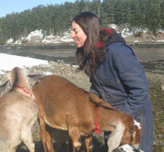 Rachel with Goats on Beach